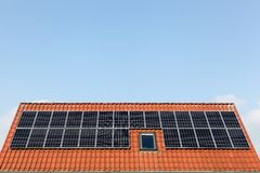 Solar panels on a roof. In Denmark Stock Image