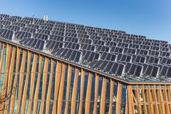 Solar panels on the roof of the Energy Academy Europe building in Groningen stock photography