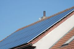 Solar panels on a roof Gathering power royalty free stock photography
