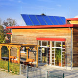 Solar panels on roof of German kindergarten Stock Photo