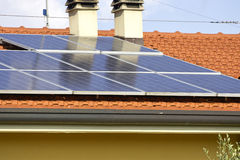 Solar panels on roof of home Stock Photo