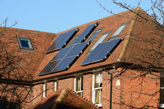 Solar panels on roof. Of hosue generating electricity Stock Images
