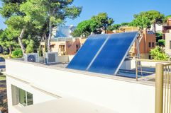 Solar panels on the roof of the house. Solar panels on the roof Royalty Free Stock Image