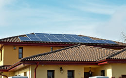 Solar panels on a roof of a house Royalty Free Stock Photo
