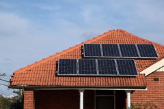 Solar panels. On roof of a house Royalty Free Stock Image