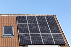 Solar panels on a roof Royalty Free Stock Images