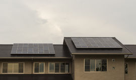 Solar panels on roof of a house Royalty Free Stock Photography