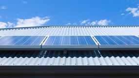 Solar panels on roof Stock Photos