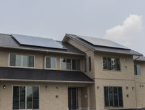 Solar panels on roof of a house Stock Image