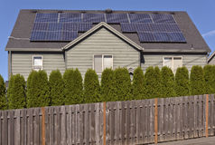 Solar panels on a roof of a house. Royalty Free Stock Photos