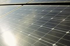 Solar panels on the roof of a house. Solar panel outdoors Photovoltaic energy from sun stock photography