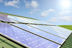 Solar panels on roof Royalty Free Stock Photography