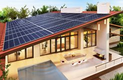 Solar panels on the roof of the modern house. Solar panels on the roof of the large house royalty free stock photos