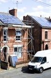 Solar Panels on roof. NOTTINGHAM, UK - AUGUST 11, 2014: House with newly installed solar panels on roof - regenerative energy system electricity generation Stock Photos