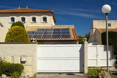 Solar panels on the roof of a private house. Stock Images