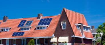 Solar panels on roof Stock Photo