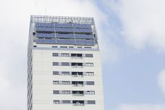 Solar panels on the roof of a residential building. Royalty Free Stock Photography