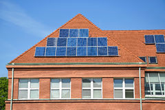 Solar panels on the roof. Of the school building Royalty Free Stock Images