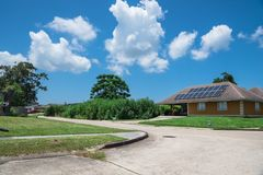 Solar panels roof Stock Photo
