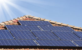 Solar panels on a roof Stock Images