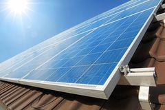 Solar panels on the roof. In sunny day royalty free stock images