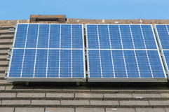 Solar energy panels on a roof Royalty Free Stock Photos