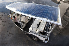 Solar panels on the roof of a tuc tuc Stock Photo