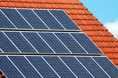 Solar panels of a roofing tile Royalty Free Stock Photos