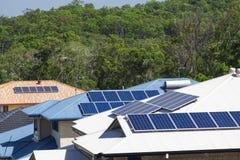 Solar panels on roofs Stock Photos