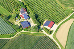 Solar panels. On the roofs of rural houses in Germany Royalty Free Stock Photos