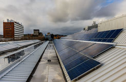 Solar panels on rooftop Royalty Free Stock Photography