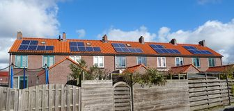 Solar panels on a rooftop stock photos