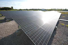 Solar panels in a row on Thailand electric plant . Stock Images
