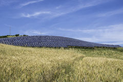 Solar panels in rural Stock Photos