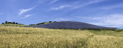 Solar panels in rural Stock Photography