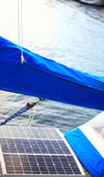 Solar panels in sailboat. Renewable eco energy Stock Photography
