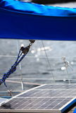 Solar panels in sailboat. Renewable eco energy Stock Image