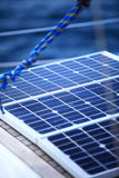 Solar panels in sailboat. Renewable eco energy Royalty Free Stock Photos