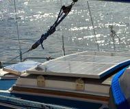 Solar panels in sailboat. Renewable eco energy Royalty Free Stock Image