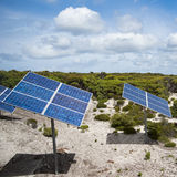 Solar panels in scrubland, Australia. Solarpanel in the separation of Kangaroo Island Stock Photo