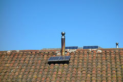 Solar Panels on Shingled Roof Royalty Free Stock Photography