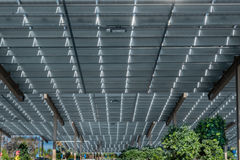 Solar panels. Shopping center parking lot covered by solar panels clean energy Stock Photo