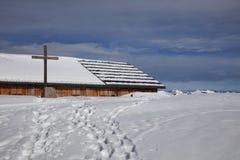 Solar Panels on Ski Hut with Snow in Austria Royalty Free Stock Photo