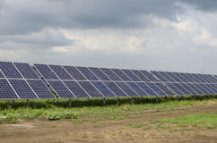 Solar panels on the sky background Royalty Free Stock Photography