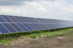 Solar panels on the sky background Royalty Free Stock Images
