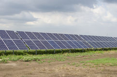 Solar panels on the sky background Royalty Free Stock Photos