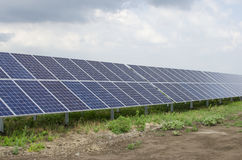 Solar panels on the sky background Stock Image