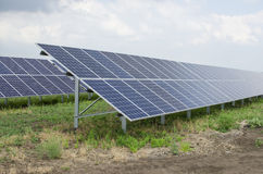Solar panels on the sky background Royalty Free Stock Image