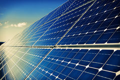 Solar panels and sky background Stock Images