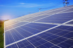 Solar panels with sky. Solar panels with the blue sky Royalty Free Stock Photo